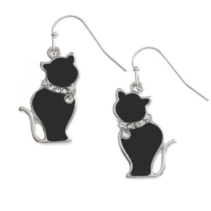 Black Cat Earrings bluebells of bath