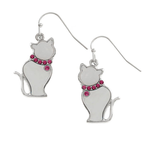 White Cat Earrings - Bluebells of Bath