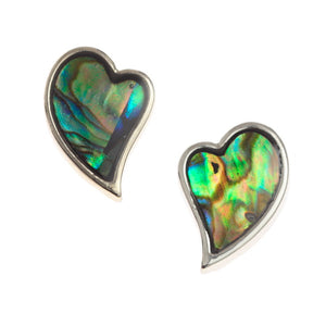 Heart Paua Shell Stud Earrings - Bluebells of Bath