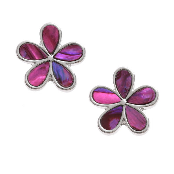 Pink Daisy Paua Shell Stud Earrings - Bluebells of Bath