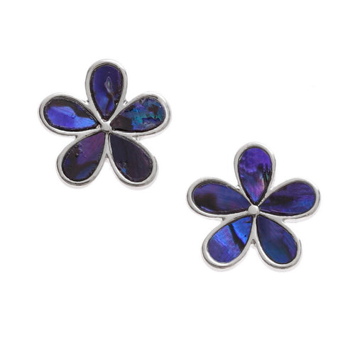 Purple Daisy Paua Shell Stud Earrings - Bluebells of Bath