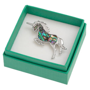 Unicorn Paua Shell Brooch - Bluebells of Bath