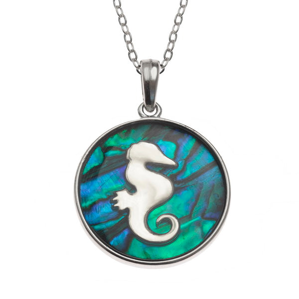 Underwater Seahorse Paua Shell Necklace - Bluebells of Bath