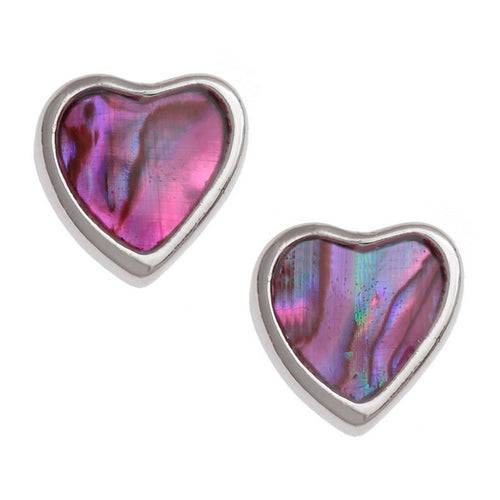 Pink Heart Paua Shell Stud Earrings - Bluebells of Bath
