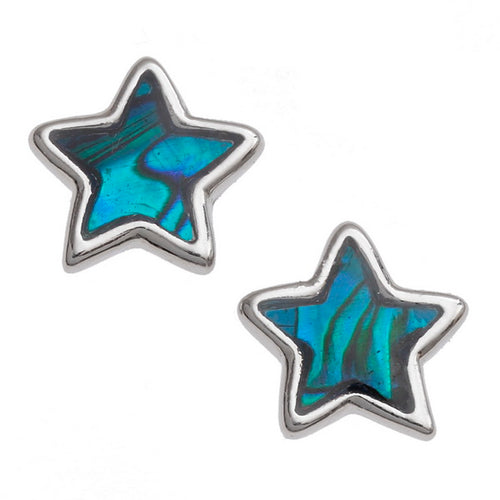 Blue Star Paua Shell Stud Earrings
