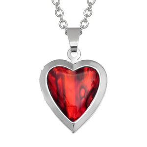 Heart Red Paua Shell Locket Necklace - Bluebells of Bath