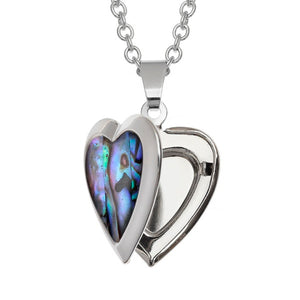 Heart Paua Shell Locket Necklace - Bluebells of Bath