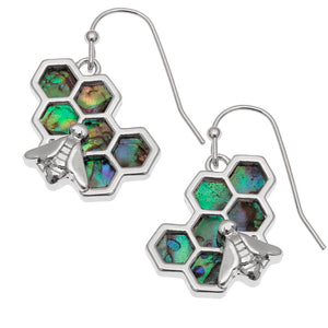 Honeycomb Paua Shell Earrings - Bluebells of Bath