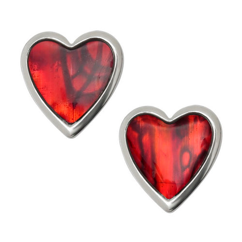 Red Heart Paua Shell Stud Earrings - Bluebells of Bath