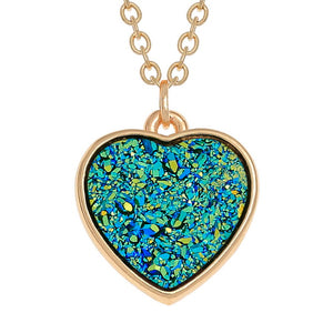 Teal Druzy Heart Necklace - Bluebells of Bath