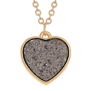 Grey Druzy Heart Necklace - Bluebells of Bath