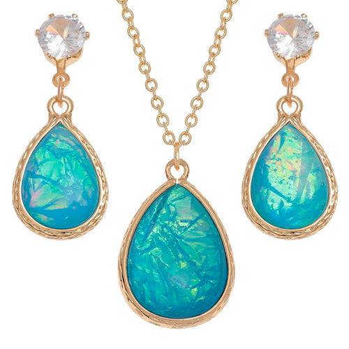 Blue Teardrop Necklace and Earring Set - Bluebells of Bath