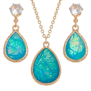 Blue Teardrop Necklace and Earring Set Bluebells of bath