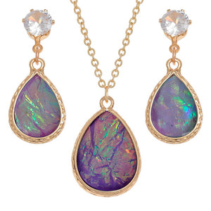Purple Teardrop Necklace and Earring Set - Bluebells of Bath
