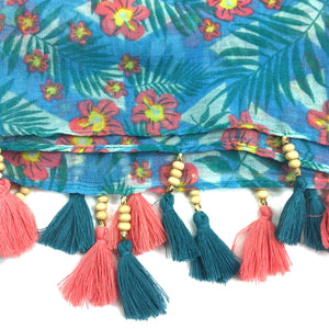 Floral Turquoise Tassel Scarf - Bluebells of Bath