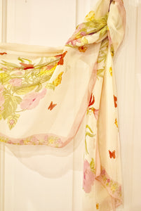 Cream Floral Chiffon Scarf - Bluebells of Bath