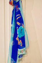 Dark Blue Floral Chiffon Scarf - Bluebells of Bath