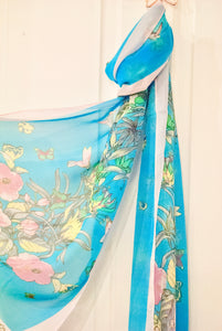 Blue Floral Chiffon Scarf - Bluebells of Bath