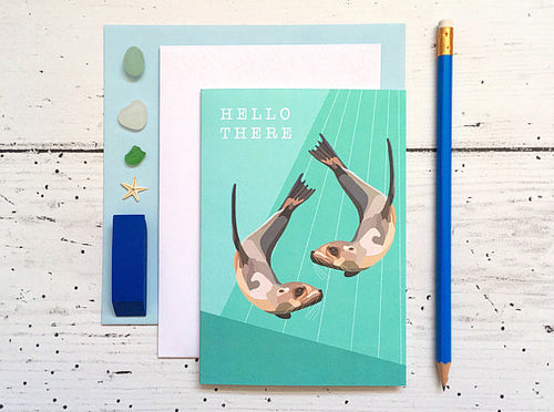 Sea Lion Hello There Card - Bluebells of Bath