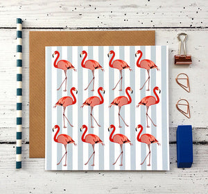 Flamingo Greeting Card - Bluebells of Bath