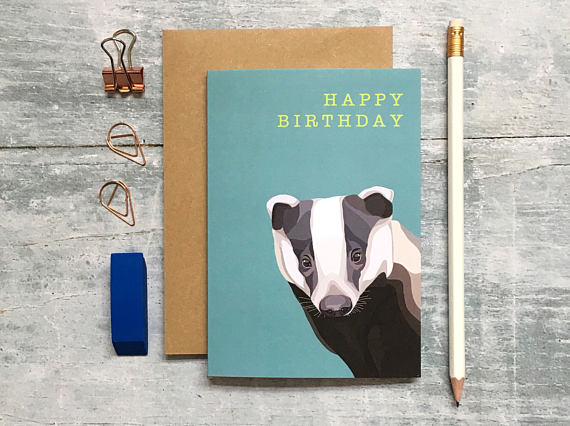 Badger Birthday Card - Bluebells of Bath