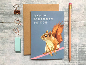 Squirrel Birthday Card - Bluebells of Bath