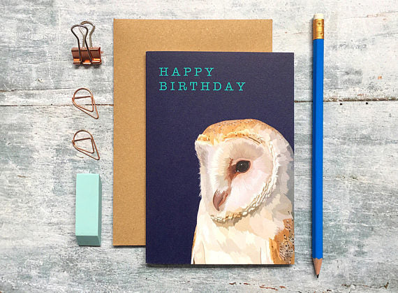 Owl Birthday Card - Bluebells of Bath