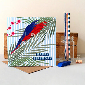 Parrot Birthday Card - Bluebells of Bath