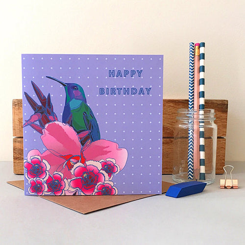 Hummingbird with Flowers Birthday Card - Bluebells of Bath