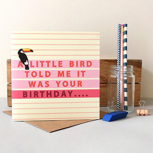 Toucan Pink Birthday Card - Bluebells of Bath