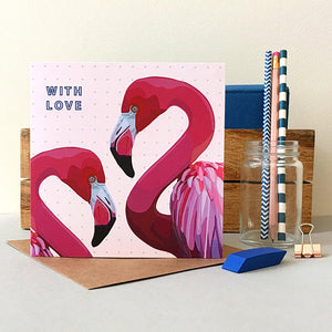 Flamingo With Love Card - Bluebells of Bath
