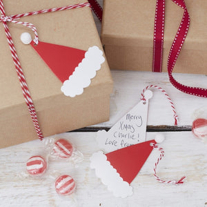 Santa's Hat Gift Tags - Bluebells of Bath