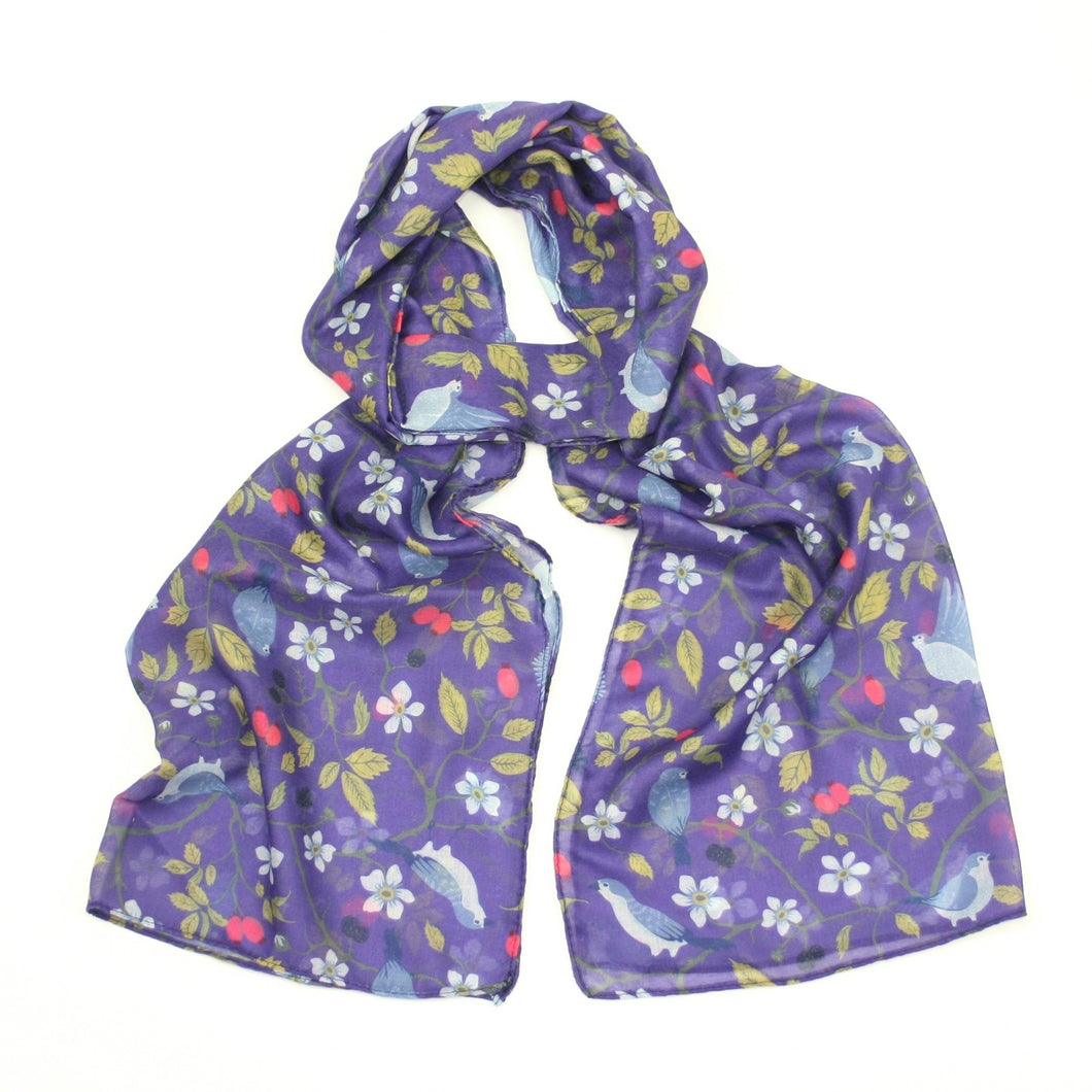 Birds and Berries Scarf - Bluebells of Bath