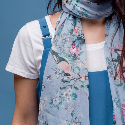 Rosalie Blue Bird Scarf - Bluebells of Bath