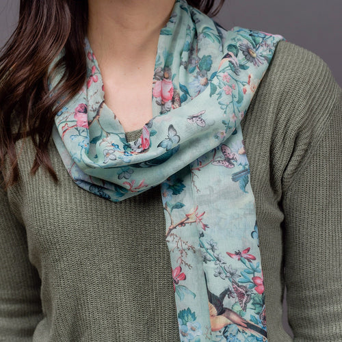 Rosalie Green Bird Scarf - Bluebells of Bath