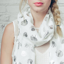 White Foil Shell Scarf - Bluebells of Bath