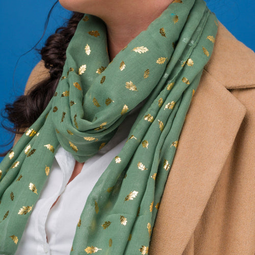 Ditsy Oak Foil Scarf - Bluebells of Bath