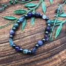 Clear mental Fog & Improve Concentration Fluorite & Amethyst Stretchy Adult SUPER CALM Bracelets