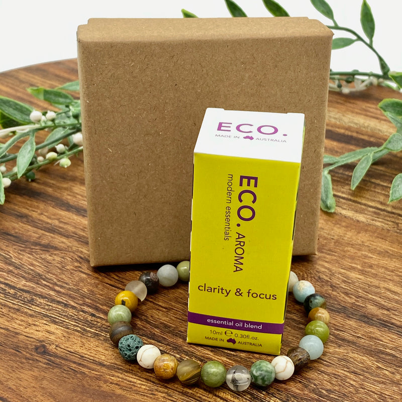 Gift Sale Boxed Retro Boho Earth Child Bracelet & Eco Clarity and Focus Oil