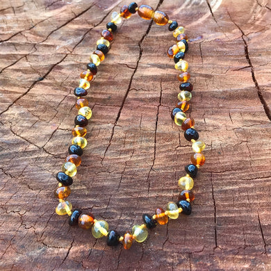 Dark Multi 100% Baltic Amber Teething Necklace