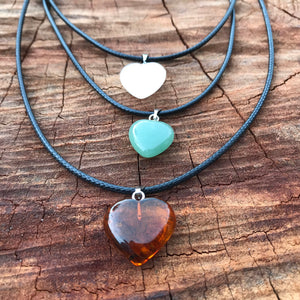 Amber, Quartz or Aventurine Pendant Necklaces