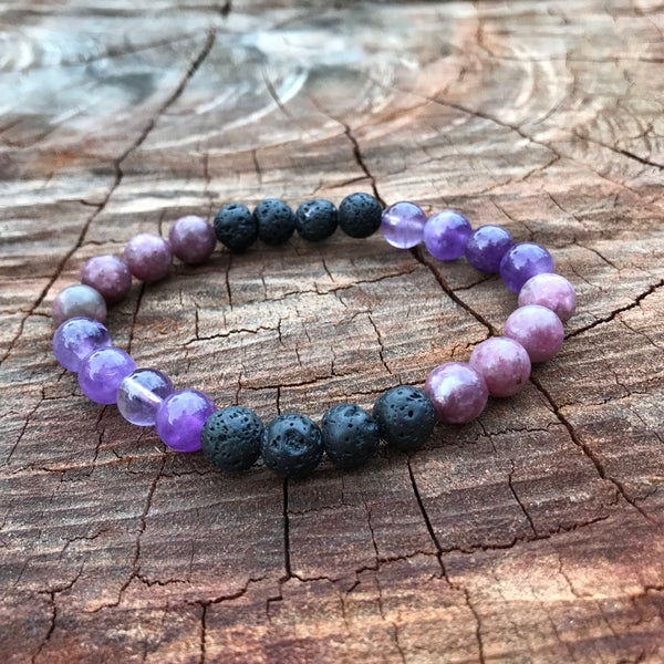 Anxiety & Calm Amethyst Sleep Adult Stretchy Lava Diffuser Bracelet