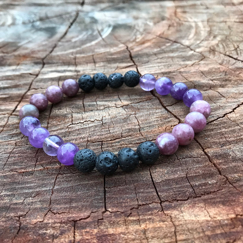 Anxiety Calm Lepidolite & Amethyst Sleep Adult Stretchy Lava Diffuser Bracelet