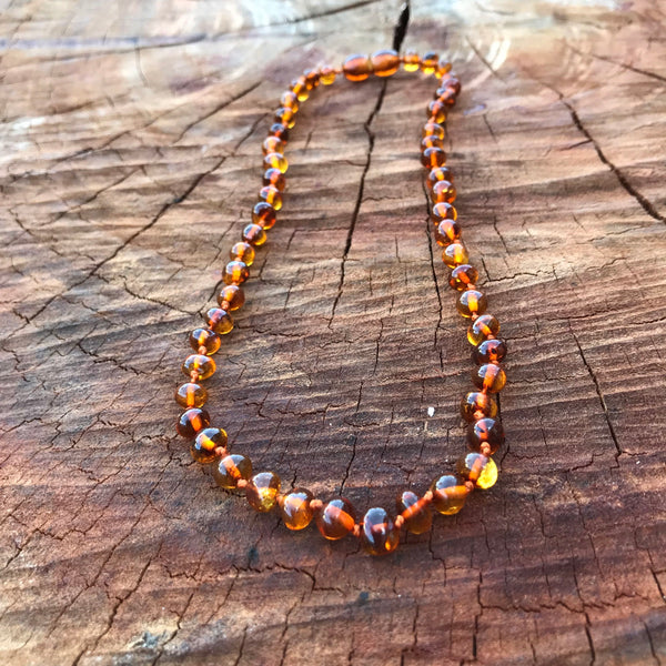 Amber Teething Necklace brown cognac baby Amber Teething Necklace amber bliss