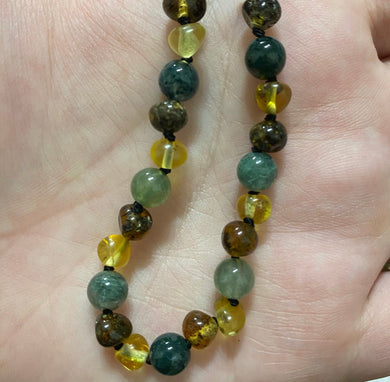 Unicorns Baby Yellow Amber, Amethyst & Gemstone Baby Teething Necklace