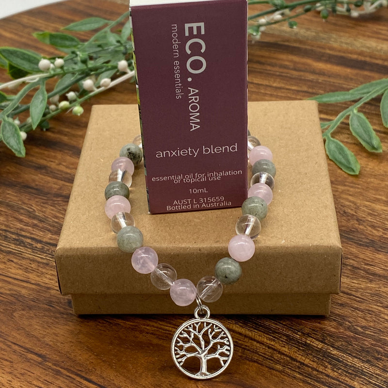 Gift Boxed Set ECO Anxiety Essential Oil & Tree of Life Anxiety & Love Bracelet