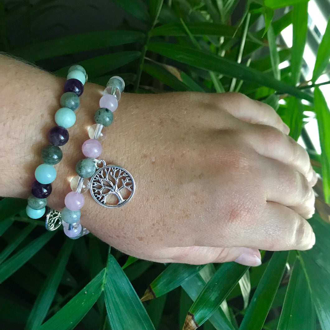 Anxiety Tree of Life labradorite & Quartz or Amethyst bracelet