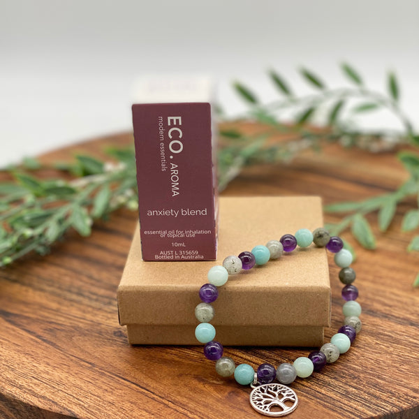 Gift Boxed Set ECO Anxiety Essential Oil & Tree of Life Anxiety & Sleep Bracelet