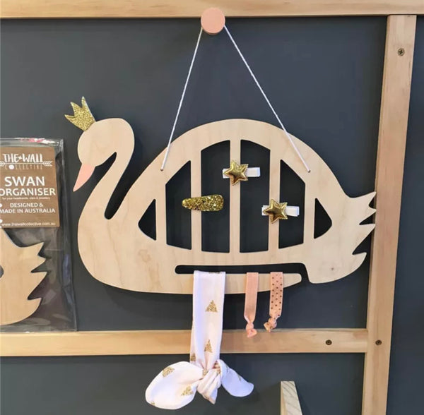 Scandi/ Nordic Swan Wooden Hair Bow Wall Hanging Display Gift