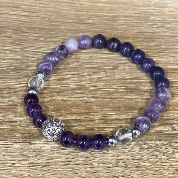 Sleep Well Anxiety & Insomnia Lepidolite & Amethyst Adult bracelet